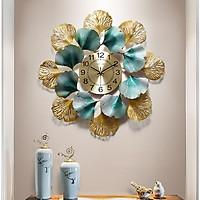 Đồng hồ treo tường lá Ginkgo - phù điêu treo tường - Đồng hồ trang trí phòng khách cao cấp