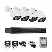 Bộ Camera KIT AHD 2.0MP FHD 1080P - Trọn Bộ 4 mắt 2.0MP - Kèm ổ cứng 500GB + Đủ phụ kiện tự lắp đặt