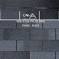 Tấm lợp bitum phủ đá cana đồng phẳng black - tấm nhựa đường phủ đá màu đen viên gạch từ Hàn Quốc chống thấm và trang trí biệt thự, nhà gỗ, bungalow, đóng gói 22 tấm /gói/phủ 3.2m2 mái