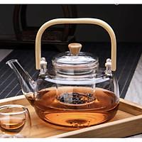 Ấm pha trà thủy tinh quai gỗ 900ml - ANTH682