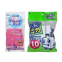 Combo Găng Tay SHOWA size S + Set 10 Miếng Mút Lau Chùi Melamine Nội Địa Nhật Bản