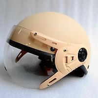 Mũ Bảo Hiểm có kính 1/2 đầu kem nhám