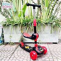 Xe trượt scooter ba bánh có nhạc ,đèn kiêm chòi chân 2 trong 1