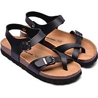 Giày Sandal Nữ Xỏ Ngón Đen Đế Trấu HuuCuong 2133