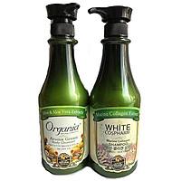 Combo dầu gội chống rụng collagen 750g và sữa tắm Aroma 750g