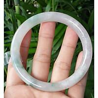Vòng cẩm thạch size 59mm, vân hoa tuyết điểm lý cực xinh, đã kiểm định PNJ, ảnh thực tế - Đá Non Nước