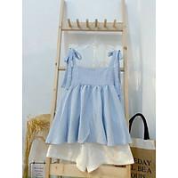 Set đồ nữ - bộ đồ nữ áo 2 dây babydoll buộc nơ kèm quần short siêu mát