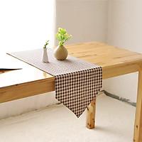 Khăn trải bàn table runner vải bố - Họa tiết caro nâu - mẫu G08