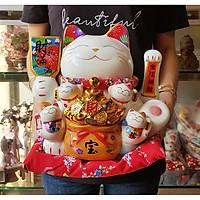 Mèo Thần Tài tay vẫy 27cm - Thiên Kim Vạn Lượng (tặng kèm 50 xu vàng mini may mắn)