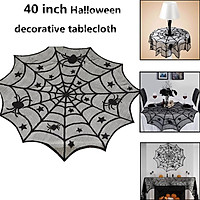 40Inches Black Spider Web Pattern Round Table Cover for Halloween Decoration