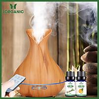 Combo máy khuếch tán/ máy xông tinh dầu bình hoa màu vàng FX2021 + tinh dầu sả chanh + tinh dầu cam Lorganic (10ml x2) LGN0190