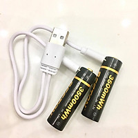 Vỉ 2 viên Pin tiểu sạc AA 1.5V 3500mWh cao cấp sạc nhanh trực tiếp bằng cổng micro USB không cần bộ sạc kèm cáp sạc 2 đầu