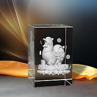 Tượng 3D Con Gà (Dậu) - Trang Trí Xe Ô tô/ Bàn Làm Việc - Bằng Pha Lê