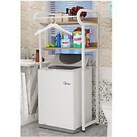 Kệ máy giặt 2 tầng cho máy cửa trên KMG05, loại khung thép sơn tĩnh điện chống bong tróc, gỗ lõi xanh phủ melamine chống nước, hàng được sản xuất tại Việt Nam