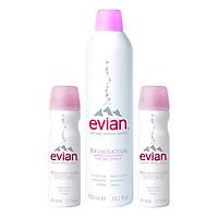 Combo 3 Chai Nước Xịt Khoáng Thiên Nhiên Evian Natural Mineral Water (1 x 300ml + 2 x 50ml)