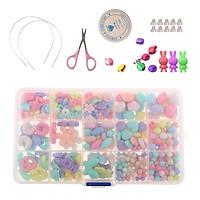 1 Box Acrylic Beads Kit Necklace Bracelet DIY Kids Jewelry Making Craft Set