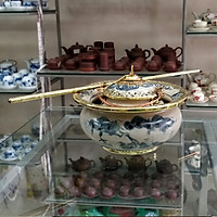 Điếu bát men rạn bọc đồng vẽ phong cảnh gốm sứ Bát Tràng (điếu hút thuốc lào)