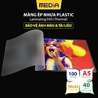 Màng Ép Plastic A5 MEDIA inkjet, Màng Ép Nhựa Plastic, Kích Thước 16 x 22cm (A5), Độ Dày 40-60-80 Micro, 100 Tờ, Lưu Trữ Bảo Vệ Tài Liệu, Ảnh Màu Khỏi Bụi Bẩn, Ẩm Móc Và Nước - Hàng Chính Hãng