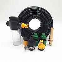 Bộ vòi xịt nước tưới cây, Rửa xe BTD-7203 vòi đồng VOI-6 kèm bình xà phòng + 15m dây 8/11