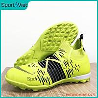 Giày đá bóng sân cỏ nhân tạo cao cấp WJ69TF màu xanh, Cổ cao, đế cao su tự nhiên, da PU mật độ cao siều bền, đủ size từ 38 - 44