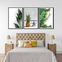 Bộ 3 tranh canvas treo tường Decor Hoa lá phong cách scandinavian - DC071