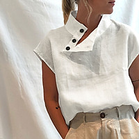 Women Cotton Blouse Stand Collar Buttoned Side Short Sleeve Plus Size Casual Fashion Loose Tunic Tops