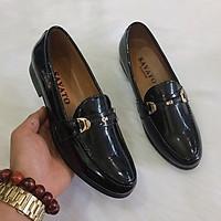 Giày lười da nam da bóng đai kim loại đen