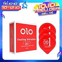 Bao cao su hộp nhỏ 03 bcs OLO 0.01 đỏ siêu mỏng, nhiều gel bôi trơn truyền nhiệt tốt