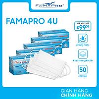 [CHÍNH HÃNG] COMBO 5 HỘP - Khẩu trang y tế 4 lớp kháng khuẩn Famapro 4U (50 cái/ hộp )