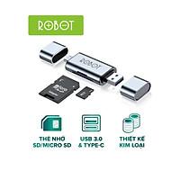 Thiết Bị Đọc Thẻ Nhớ ROBOT CR202 - 2 Đầu Type-C Và USB 3.0, Khe Cắm Thẻ Nhớ SD/Micro SD - Hàng Chính Hãng