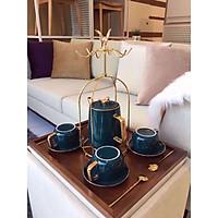 Bộ ấm trà 4 tách xanh đậm