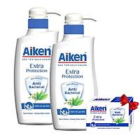Bộ 2 Chai Sữa tắm Aiken Sạch khuẩn  Extra Protection Chiết Xuất Trà Xanh 350gr*2 + Tặng Xà Bông Cục Aiken 90gr