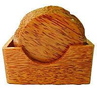 Bộ 6 đế lót ly hình hoa mai bằng gỗ dừa mỹ nghệ