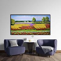 Tranh canvas phong cách sơn dầu - Phong cảnh Cánh đồng hoa - PC028