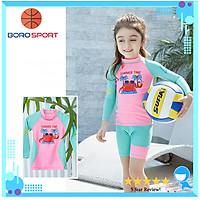 Bộ đồ bơi bé gái với công nghệ chống tia UV lên tới UPF 50++ , form dài tay  chất vải co giãn 4 chiều cao cấp ,hình ảnh ngộ nghĩnh phong cách cho bé gái cao 95 cm - 135 cm - Tặng kèm nón bơi vải