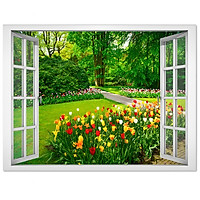 Decal cửa sổ vườn hoa VT0183