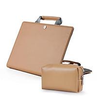 Túi Xách Đựng Laptop 11 12 13 16 Inch Trường Hợp Cho Macbook Air 13 Ốp Lưng M1 A2337 A2338 2020 Pro 15 tay Bao Chống Nước Da PU