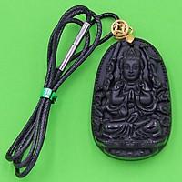Vòng cổ phật Thiên Thủ Thiên Nhãn - thạch anh đen 4.3cm DETEO8 - dây dù - tuổi Tý