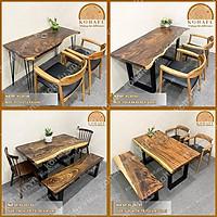 Bàn áp sát tường, bàn ăn, bàn làm việc, bàn gỗ me tây nguyên tấm Kohafu