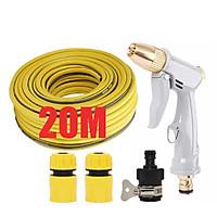 Bộ dây vòi xịt nước rửa xe, tưới cây tăng áp 3 lần, loại 20m (cút nhựa nối 713-1) 206846