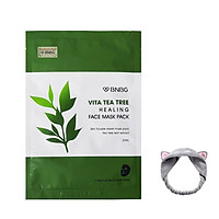 Hộp 10 Mặt Nạ Tràm Trà Giảm Mụn, Thải Độc Da BNBG Vita Tea Tree Healing Face Mask Pack 30ml + Tặng Kèm 1 Băng Đô Tai Mèo ( MÀu Ngẫu Nhiên)