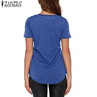 ZANZEA Fashion Women T-shirts Casual Short Sleeve Tops V-neck Tee Blouse (Blue)