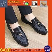 Giày da nam cao cấp trẻ trung, Giày lười nam giá rẻ chất liệu da bò pu in vân kết hợp chuông nổi bật - Mã GT12