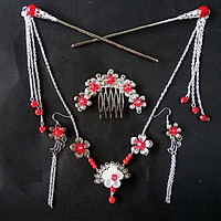 Bộ cài cổ trang 3 món đỏ (cài tóc, cài đầu, khuyên tai) trâm cài tóc nữ phong cách cổ trang Trung Quốc tặng ảnh Vcone