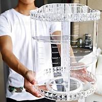 Kệ đựng mỹ phẩm nhựa PS trong suốt 3 tầng tròn xoay 360 độ hoa văn kim cương