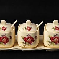 Bộ gia vị 3 món sứ vàng Ceramic Porcelain (Vuông) HY-Q037