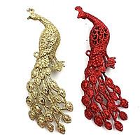 Đôi Chim Công Trang Trí Giáng Sinh - Mẫu 1 - Màu Vàng Gold - Đỏ