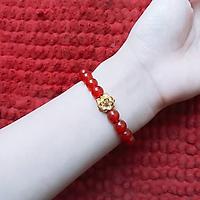 Vòng tay phong thủy nam nữ - Vòng đá mã não đỏ hoa sen vàng - Vòng phong thủy cho người mệnh hỏa, thổ