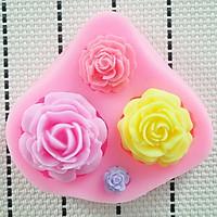 Khuôn rau câu silicon 4 hoa hồng