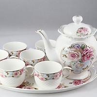 Bộ tách trà khay Sứ Ceramic Porcelain  (Bình 1.2L) (Nhiều hoa văn)